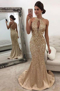 Mermaid Sleeveless Halter Sequins Golden Open Back Sweep Train Satin Prom Dresses RS556