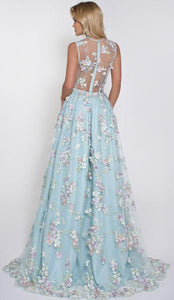 V-Neck Sleeveless Blue Tulle Appliques Affordable Long A-line Sleeveless Prom Dresses RS512