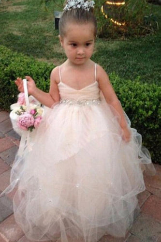 Princess Tulle Beading Spaghetti Straps Bowknot Flower Girl Dresses Lovely Tutu Dress RS777