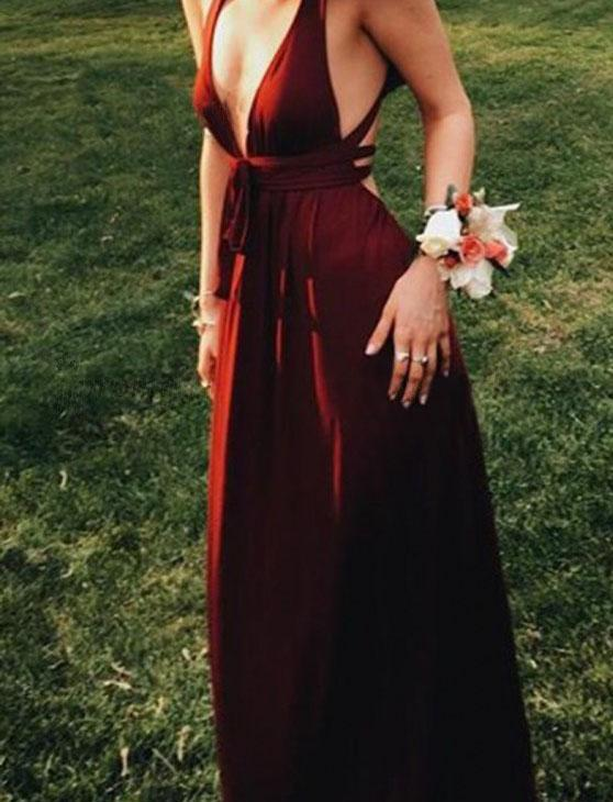 Sexy Burgundy Deep V-Neck Sleeveless Floor-Length Backless Prom Dresses RS681