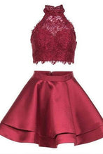 Load image into Gallery viewer, Princess Halter 2 Piece A-line Open Back Sleeveless Lace Mini Short Homecoming Dress RS246