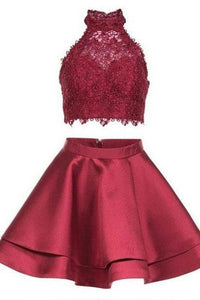 Princess Halter 2 Piece A-line Open Back Sleeveless Lace Mini Short Homecoming Dress RS246