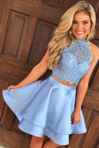 Two Piece Round Neck Short Tiered Satin Blue Open Back Homecoming Dress with Lace RS259