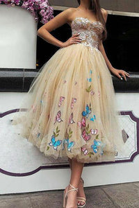 Elegant Strapless Sweetheart Appliques Tulle Tea Length Prom Dresses RS992