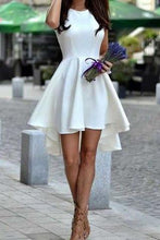 Load image into Gallery viewer, Short White High-Low Freshman Short Satin Cute Graduation Dress RS534