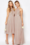 Gorgeous Glittering Top Tulle Halter Romantic Short Long Sleeveless Bridesmaid Dress RS352