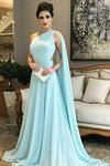 A Line Chiffon One Shoulder Ruffles Green Formal Dresses Long Prom Dresses RS295