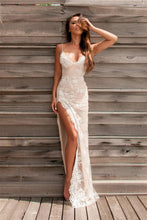 Load image into Gallery viewer, Spaghetti Straps Sweetheart Split Front Backless Lace Mermaid Appliques Prom Dresses RS493