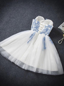 Elegant Sweetheart Tulle Appliques Short Mini A-Line Sweet 16 Dress RS787
