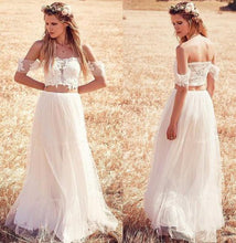 Load image into Gallery viewer, Unique A-Line Two Pieces Off-the-Shoulder Ivory Tulle Princess Lace Wedding Dresses RS405