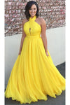 Princess Chiffon A-line Halter Long Yellow Backless Sleeveless Prom Dresses RS423
