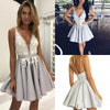 Light Lavender A-Line Deep V Neck Short Sleeveless Appliques Pleats Cheap Homecoming Dress RS210