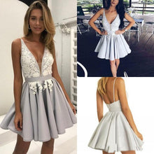 Load image into Gallery viewer, Light Lavender A-Line Deep V Neck Short Sleeveless Appliques Pleats Cheap Homecoming Dress RS210