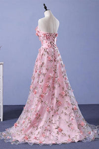 Pink A-line Sweetheart Strapless Sweep Train Floral Print Long Lace Prom Dresses with flowers RS524
