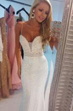 Load image into Gallery viewer, Prom Dresses Sexy Mermaid Spaghetti Strap Crystal Floor Length Formal Occasion Dress RS707