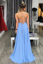 Load image into Gallery viewer, Simple A-Line Spaghetti Straps Blue V-Neck Backless Long Slit Backless Chiffon Prom Dresses RS240