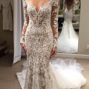 Romantic Long Appliques Backless Lace Mermaid Ivory Long Sleeve Wedding Dresses RS294