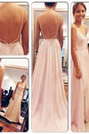 Backless Spaghetti Straps V-Neck Pink Open Back Chiffon Evening Gowns RS508
