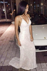 Mermaid Deep V-Neck Sweep Train Backless Criss-Cross Straps Ivory Sequined Prom Dresses RS169