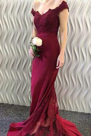 2019 Off-the-Shoulder Burgundy Lace Appliques Long Mermaid Prom Dresses RS370