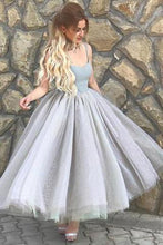 Load image into Gallery viewer, Simple A-Line Spaghetti Straps Gray Tulle Short Ball Gown Sweetheart Homecoming Dress