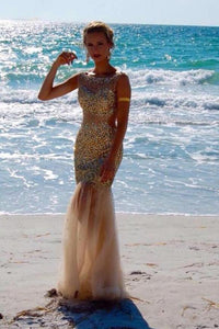 Scoop Floor-Length Tulle Sequins Sleeveless Backless Beading Prom Dresses RS395