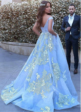 Load image into Gallery viewer, Wonderful Off-the-shoulder Ball Gown Formal Blue Lace Appliques Long Quinceanera Dresses RS119