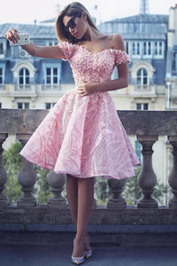 Cute A-Line Off the Shoulder Knee Length Pink Lace Homecoming Dress with Appliques RS824