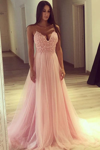 A Line Spaghetti Straps Pink Tulle V Neck Lace Appliques Sleeveless Long Prom Dresses RS72