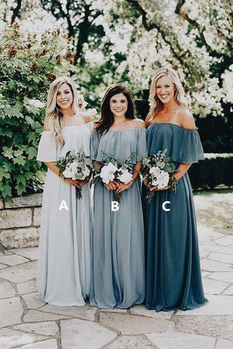 A Line Long Chiffon Off the Shoulder Slate Gray Mismatched Bridesmaid Dresses RS287