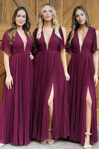 Long Deep V Neck Pleats Dark Red Chiffon Split Bridesmaid Dress Long Prom Dresses RS343
