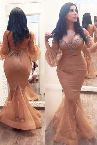 Mermaid 3/4 Sleeves Off the Shoulder Beads Brown Lace up Plus Size Prom Dresses RS164