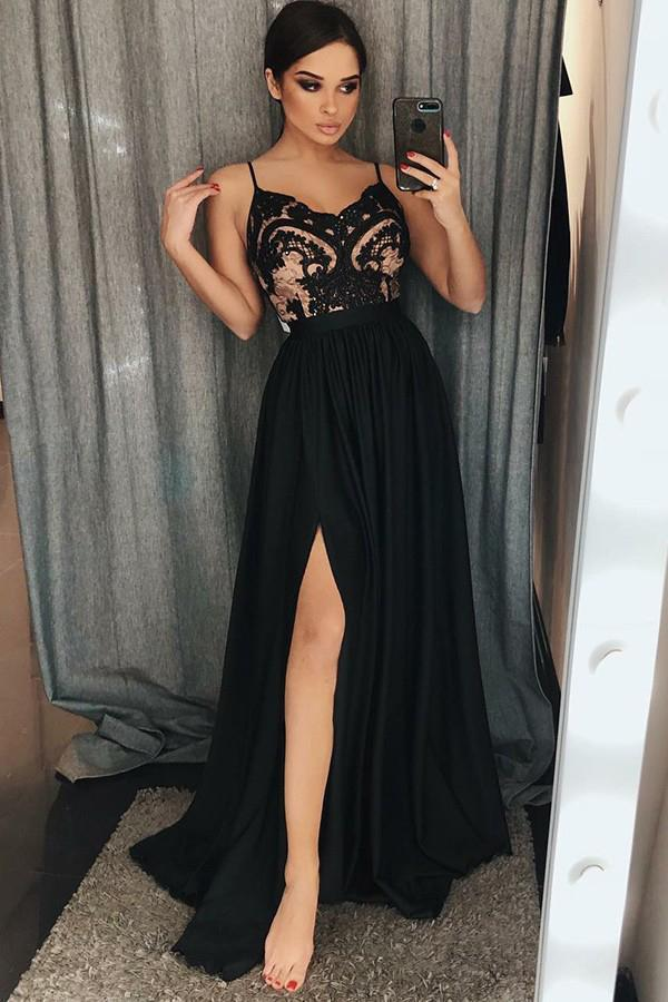 Unique A-Line Chiffon Spaghetti Straps Black Split Long Sweetheart Prom Dress with Lace RS631