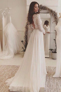 Off White Chiffon Open Back Long Sleeves Wedding Dress Simple A Line V Neck Lace Prom Dress RS743