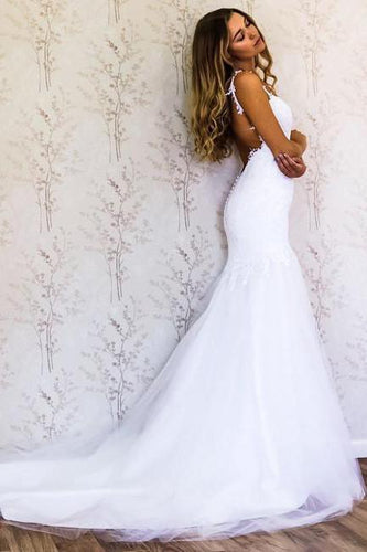 White Lace Mermaid Sweetheart Tulle Spaghetti Straps Backless Affordable Wedding Dresses RS778
