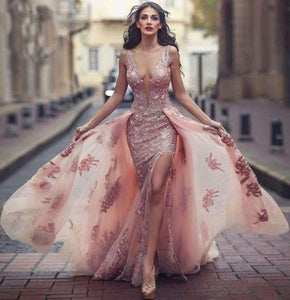 Sexy Deep V Neck Mermaid Tulle Lace Appliques Slit Front Backless Princess Prom Dresses RS742