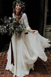3/4 Sleeve Lace Ivory Chiffon Wedding Dresses Cheap Two Piece Beach Bridal Dresses RS813