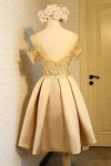 A Line Off the Shoulder Short Prom Dress Appliques Bowknot Lace Homecoming Dress RS854
