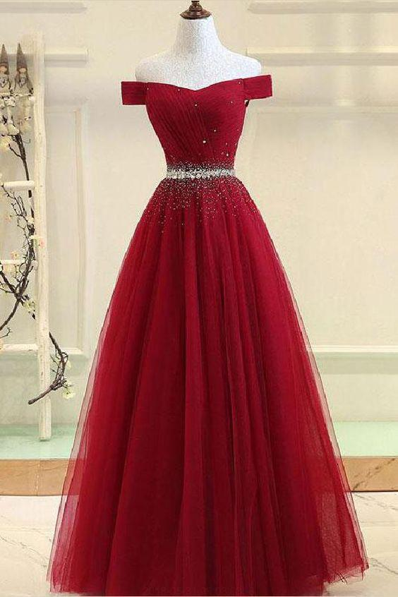 A Line Burgundy Off the Shoulder Lace up Tulle Sweetheart Long Prom Dresses RS141