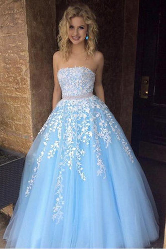 A Line Sky Blue Strapless Lace Appliques Tulle Beads Pockets Floor Length Prom Dresses RS770