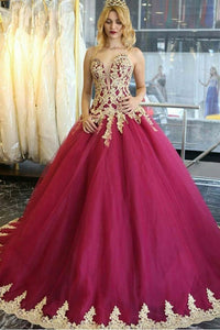Long Quinceanera Dresses Wedding Dresses Tulle Prom Dresses with Appliques RS18