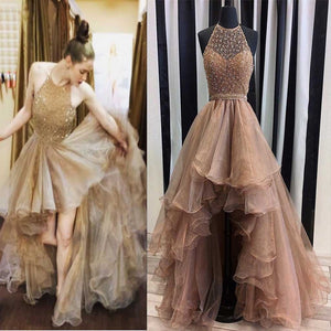 Halter Top Illusion Rhinestone Beaded Hi-Low Tulle Most Popular Long Prom Dresses RS623