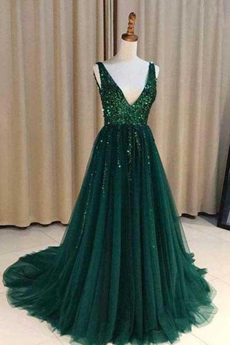 Chic A-Line V Neck Backless Dark Green Tulle Prom Dress with Sequins Evening Dresses RS696