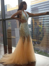 Load image into Gallery viewer, Sexy Unique Deep V Neck Mermaid Sexy Tulle Halter Backless Beads Prom Dresses RS89
