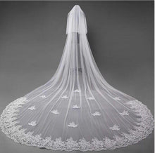 Load image into Gallery viewer, 3D Flowers Lace Appliques Tulle Ivory Wedding Veils RS180