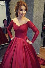 Load image into Gallery viewer, Vintage Long Sleeve Lace Sequins Off Shoulder Prom Dresses