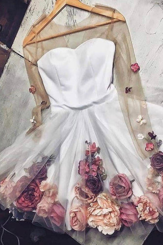 White Tulle Applique Short Prom Dress Long Sleeve Homecoming Dresses with Flowers RS827