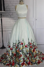 Load image into Gallery viewer, Simple Two Pieces Ivory Floral Print High Neck Sleeveless Prom Dresses Evening Dresses P1012