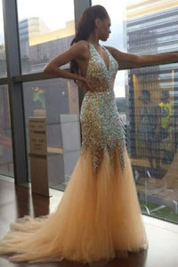 Sexy Unique Deep V Neck Mermaid Sexy Tulle Halter Backless Beads Prom Dresses RS89