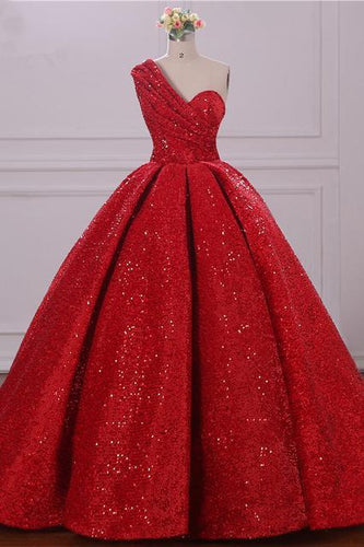 Ball Gown One Shoulder Sequins Red Sweetheart Prom Dresses Quinceanera Dresses RS39